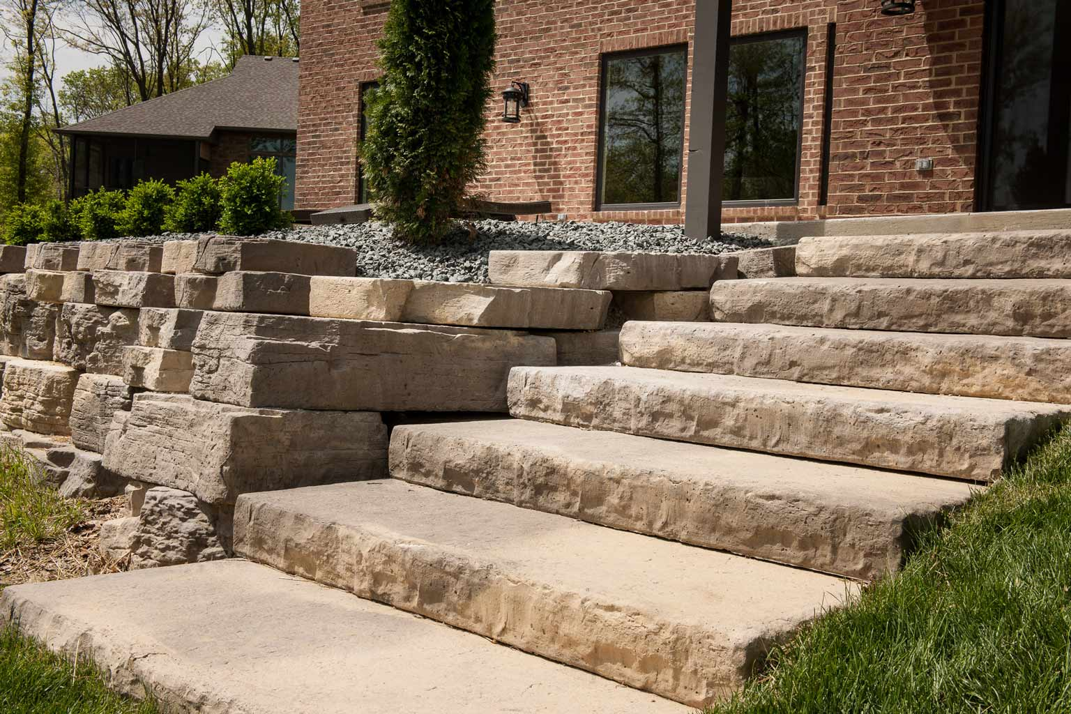 Rosetta Dimensional Steps Mimic Rock Faced Limestone Steps