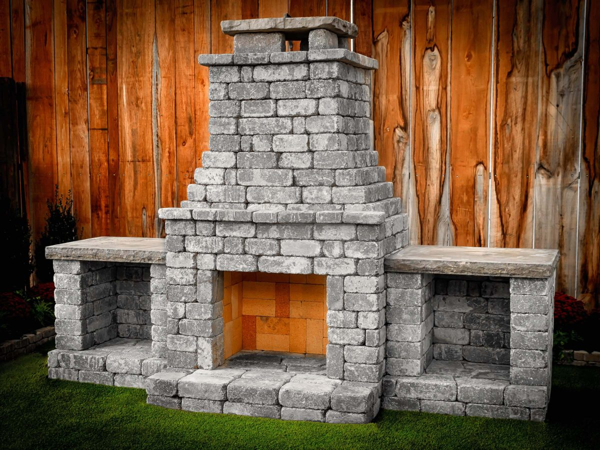 Fremont II outdoor fireplace kit with wood boxes Charcoal Blend