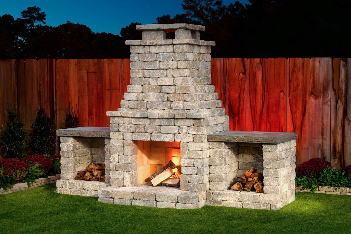 Fremont II outdoor fireplace kit with wood boxes Bethany Ledge Blend