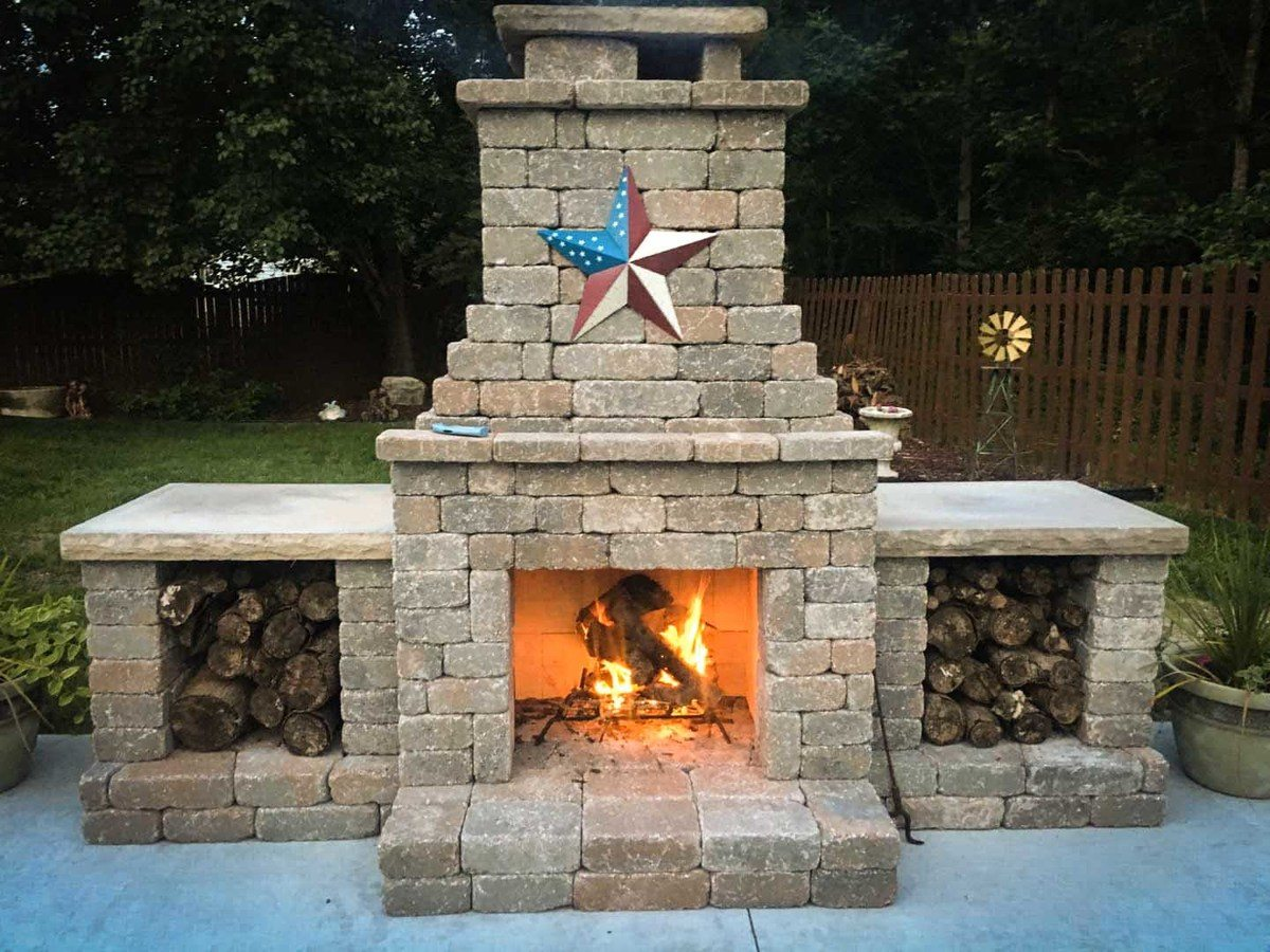 Fremont outdoor fireplace with wood storage boxes