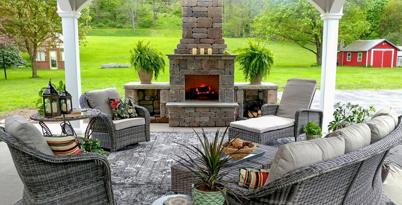 Fremont fireplace kit adds a touch of luxury to your outdoor living area