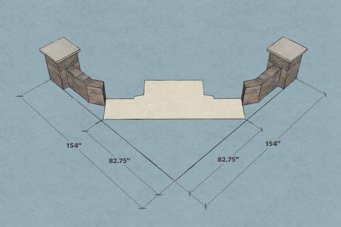 Measurement for putting a fireplace and wood boxes kit into a corner